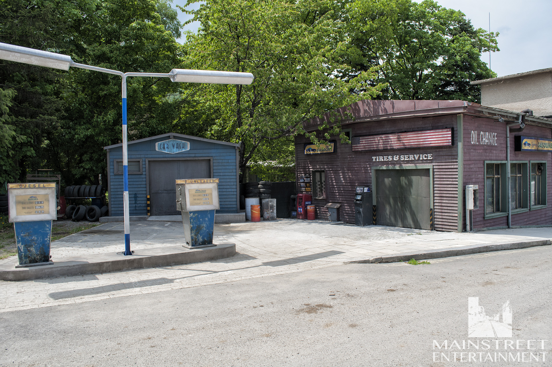 american small town gas station film set
