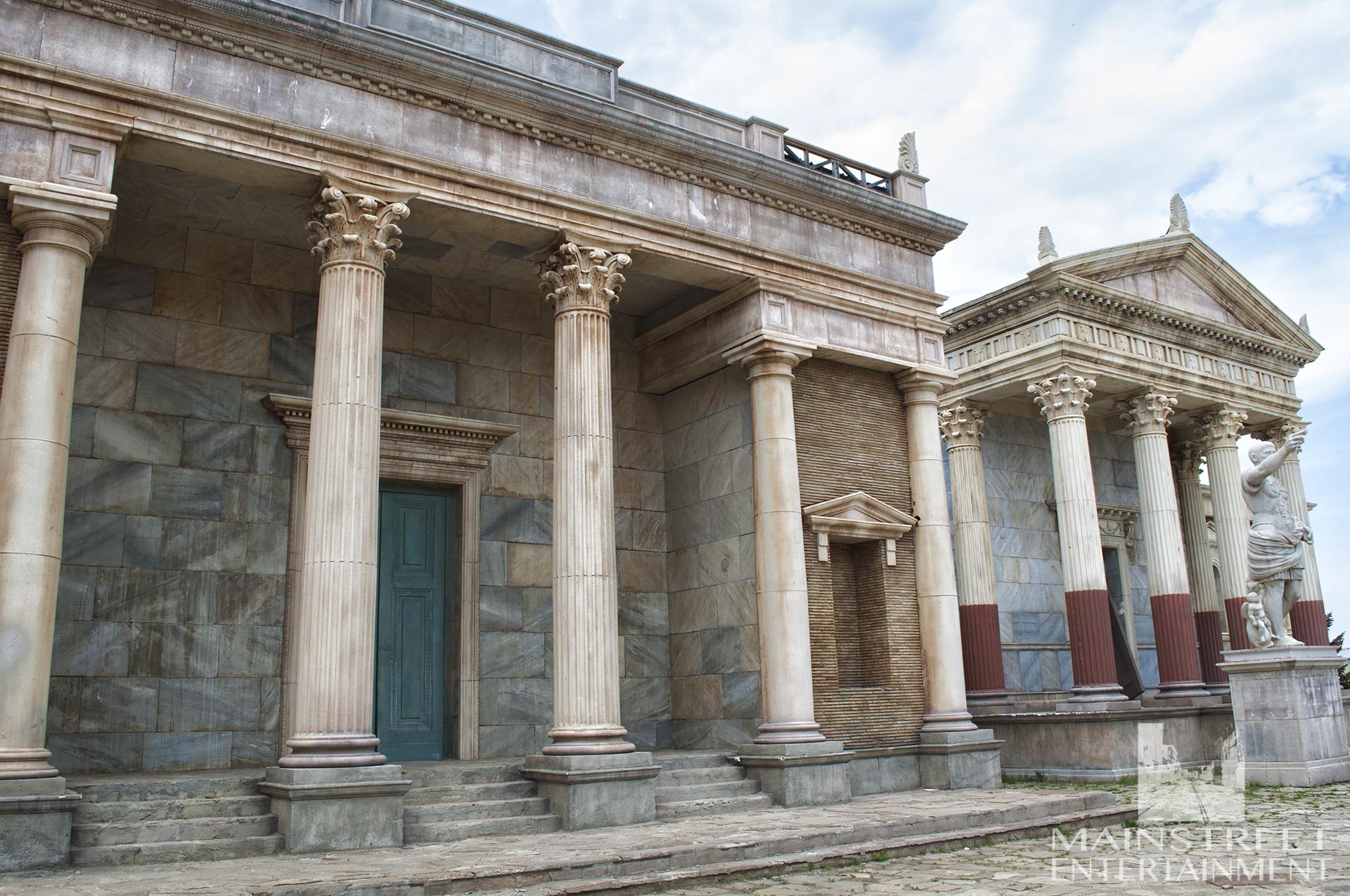 Rome film set temple columns