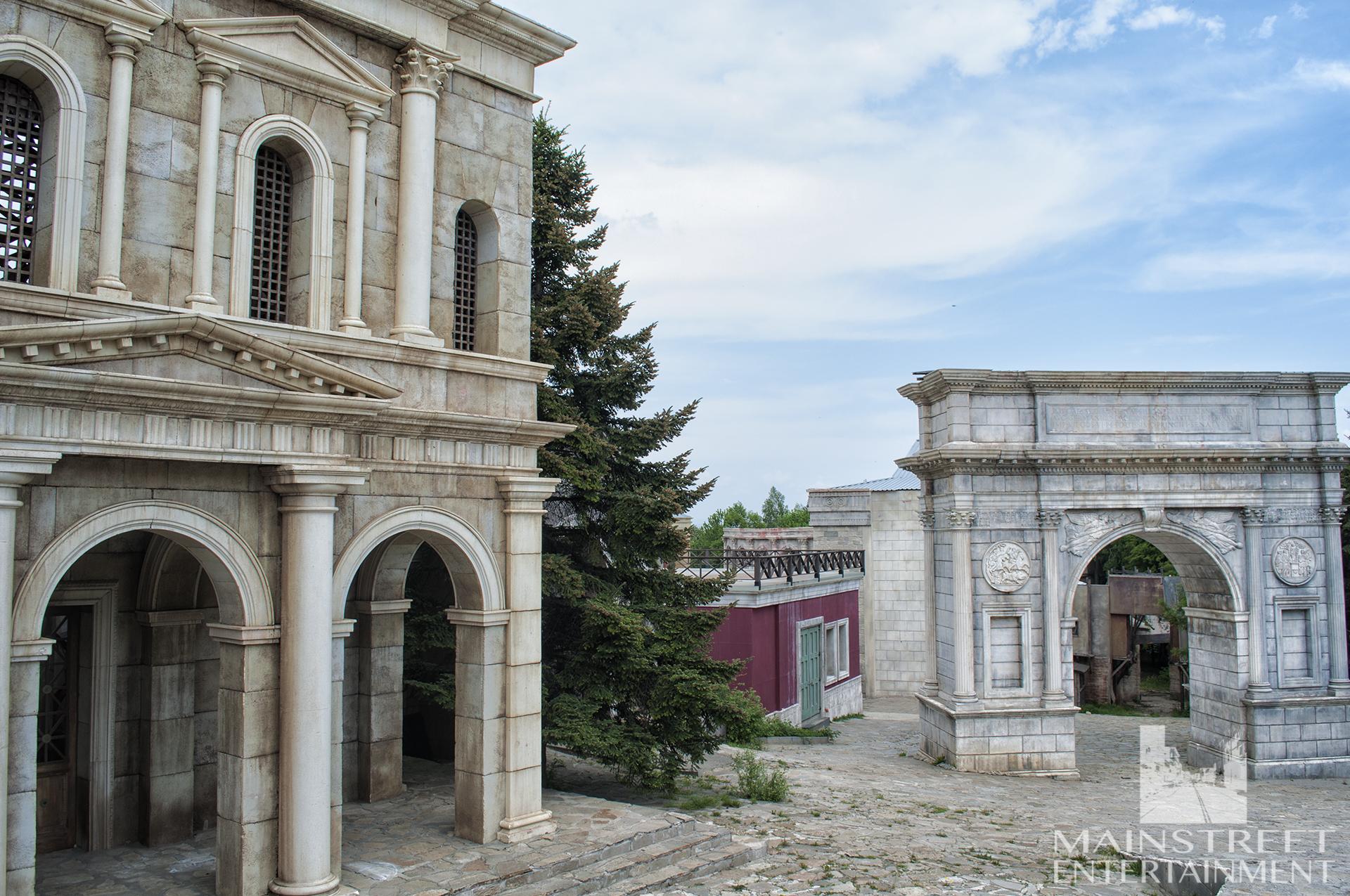 Roman monument film set