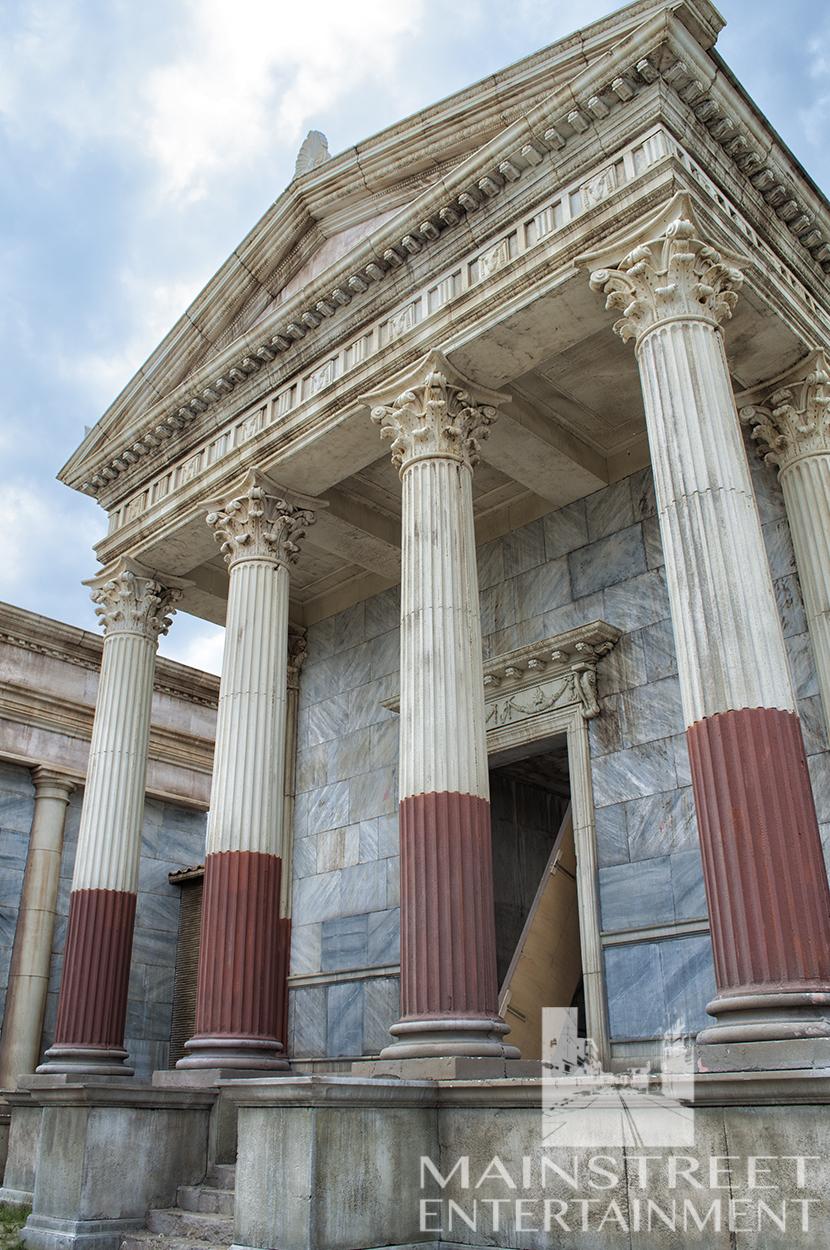 Ancient Roman temple movie set