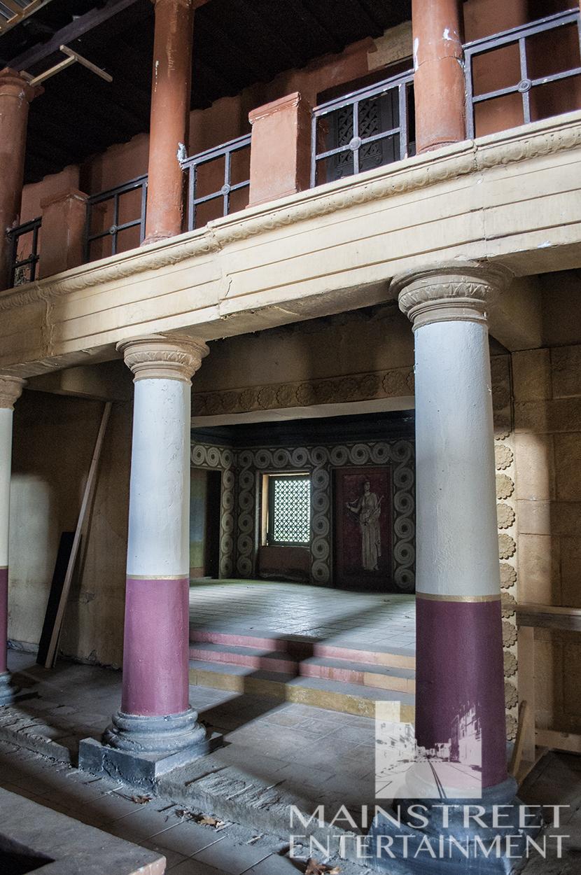 Roman pool room interior film set