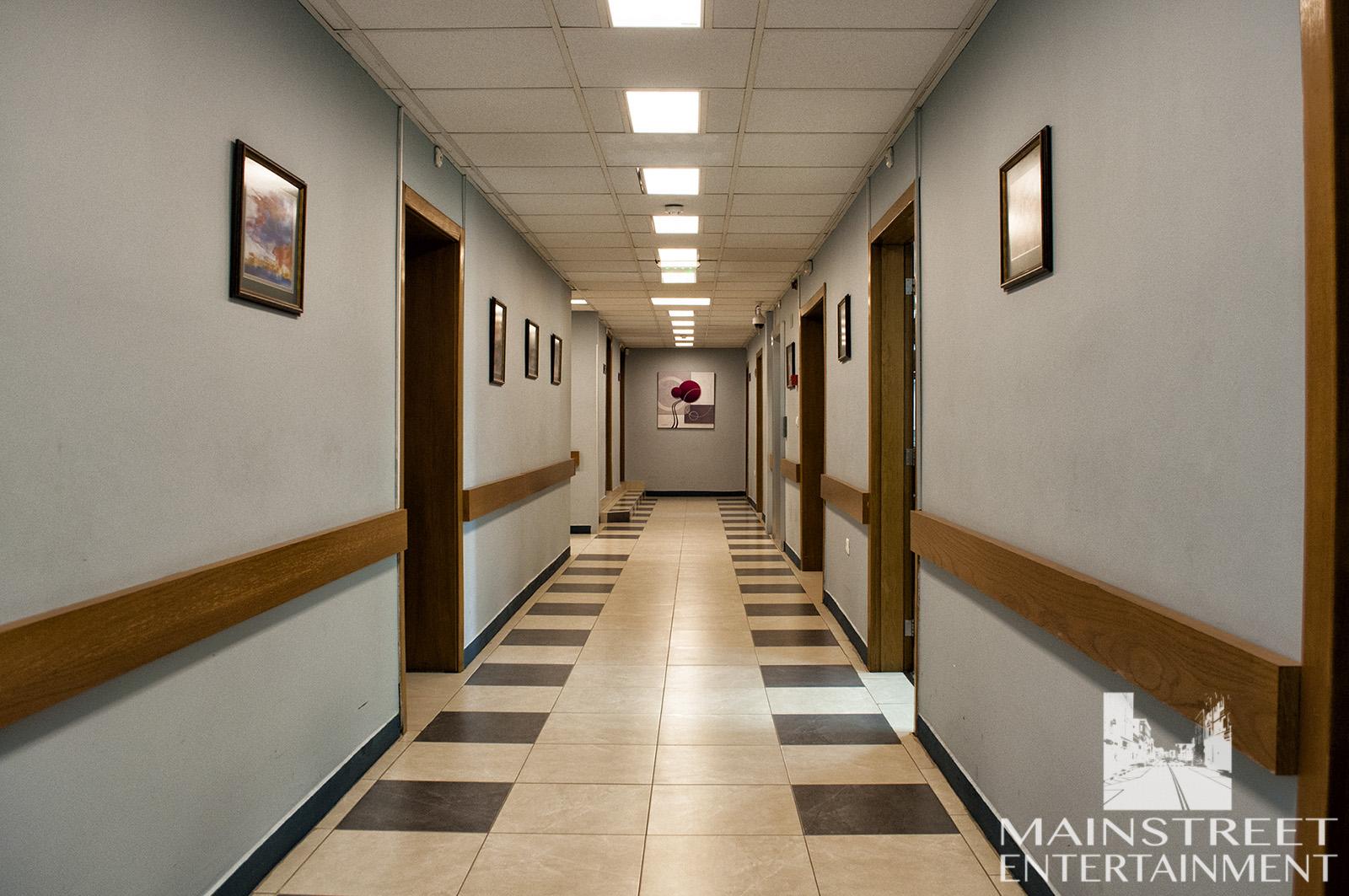 hospital film set corridor