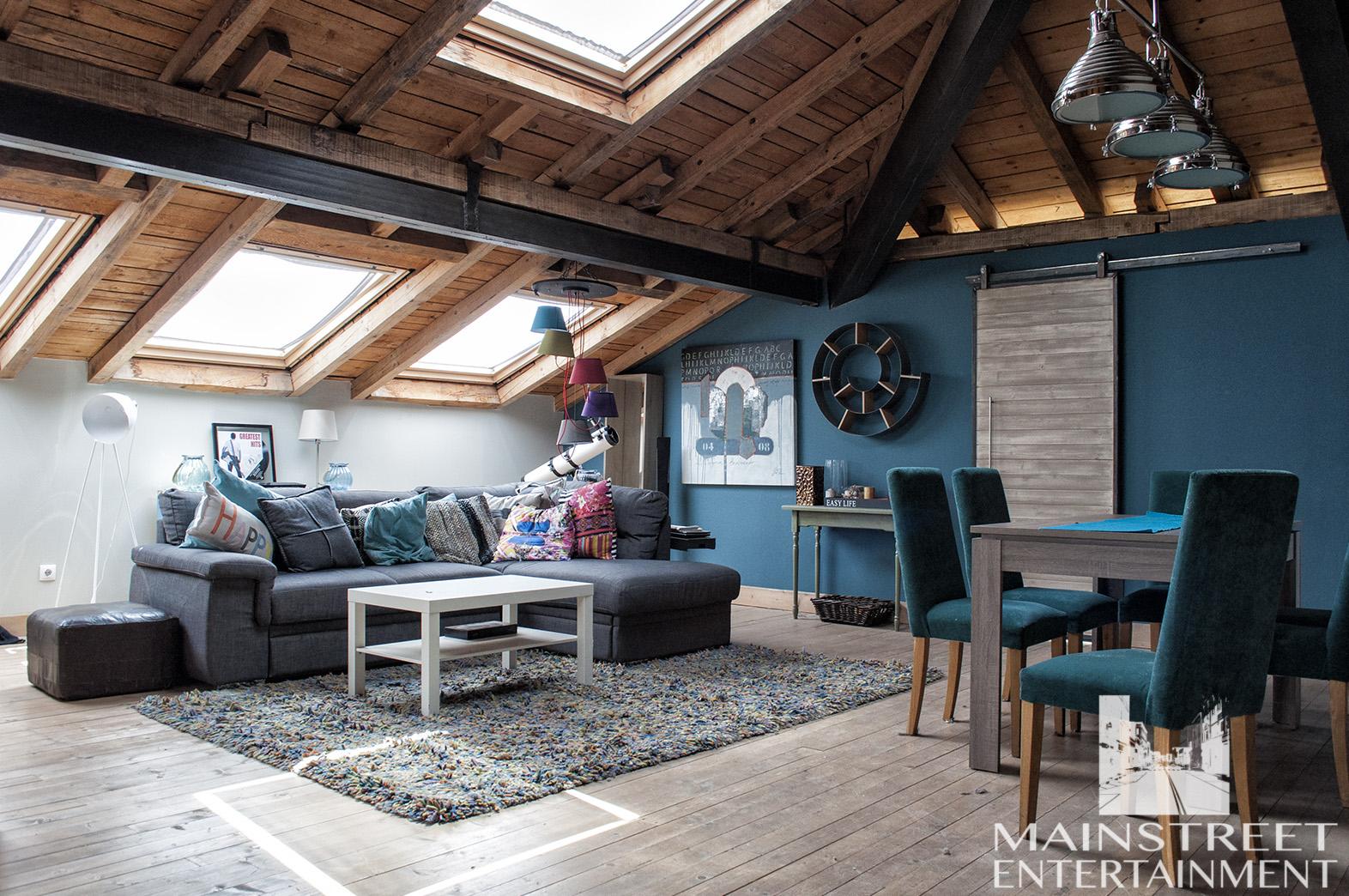 film backlot set loft living room