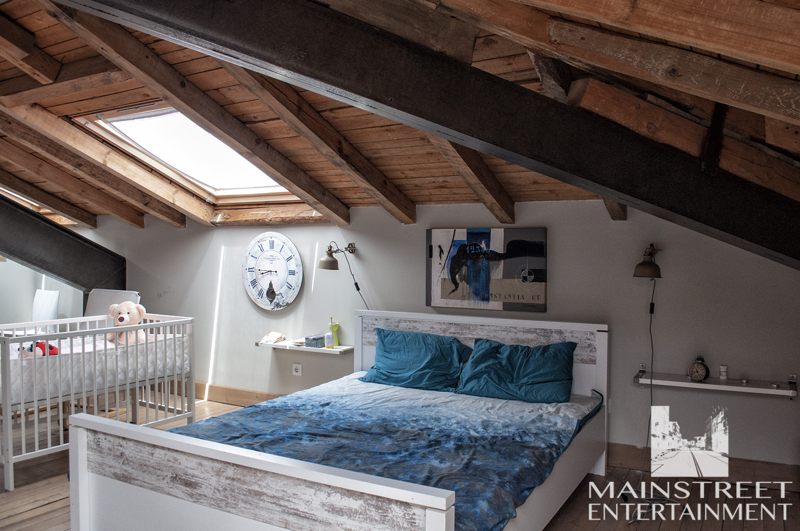 filming set loft condo bedroom