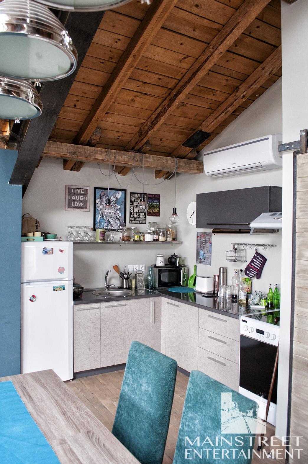 film set loft apartment kitchen