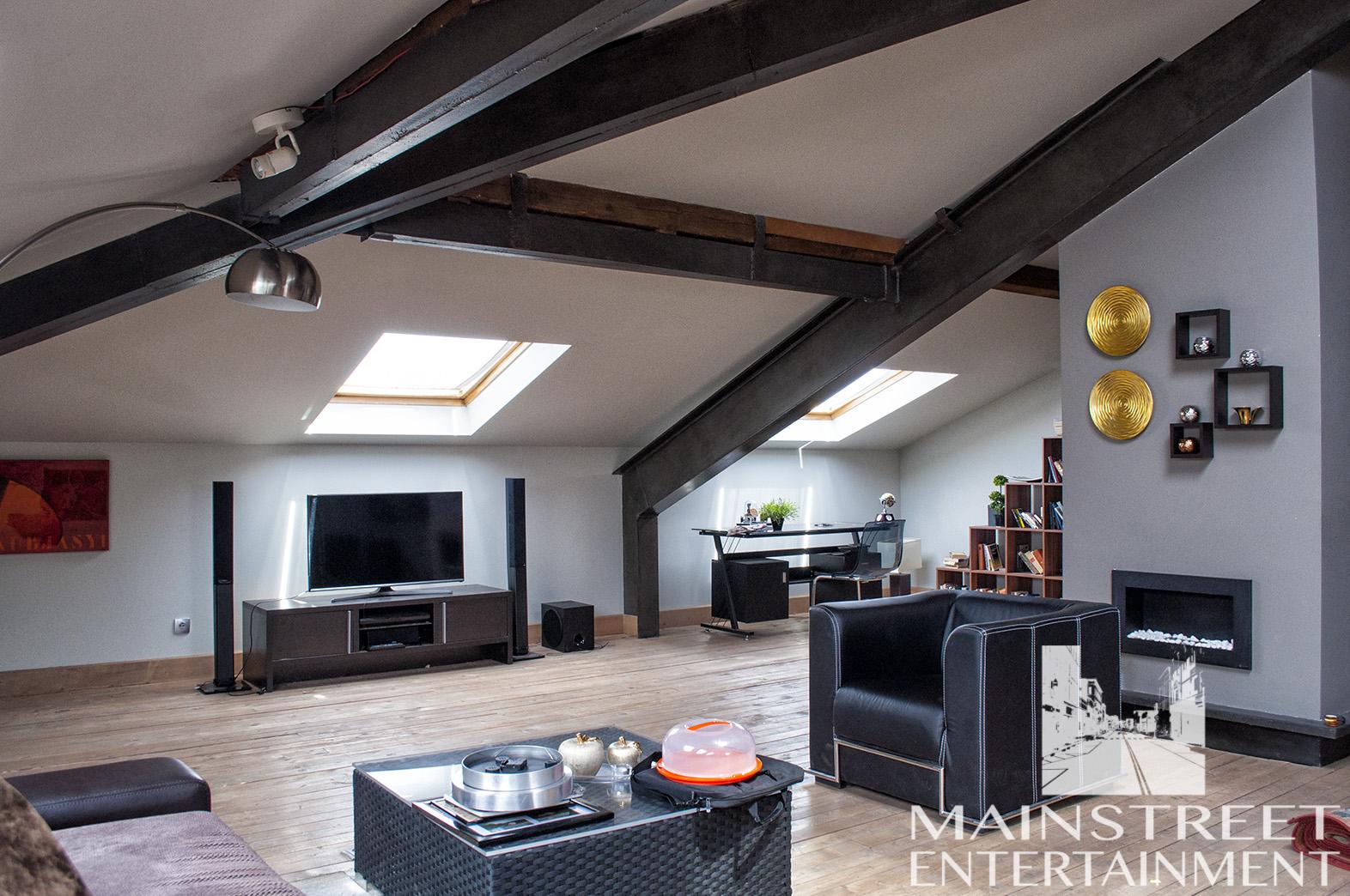 film set loft apartment living area