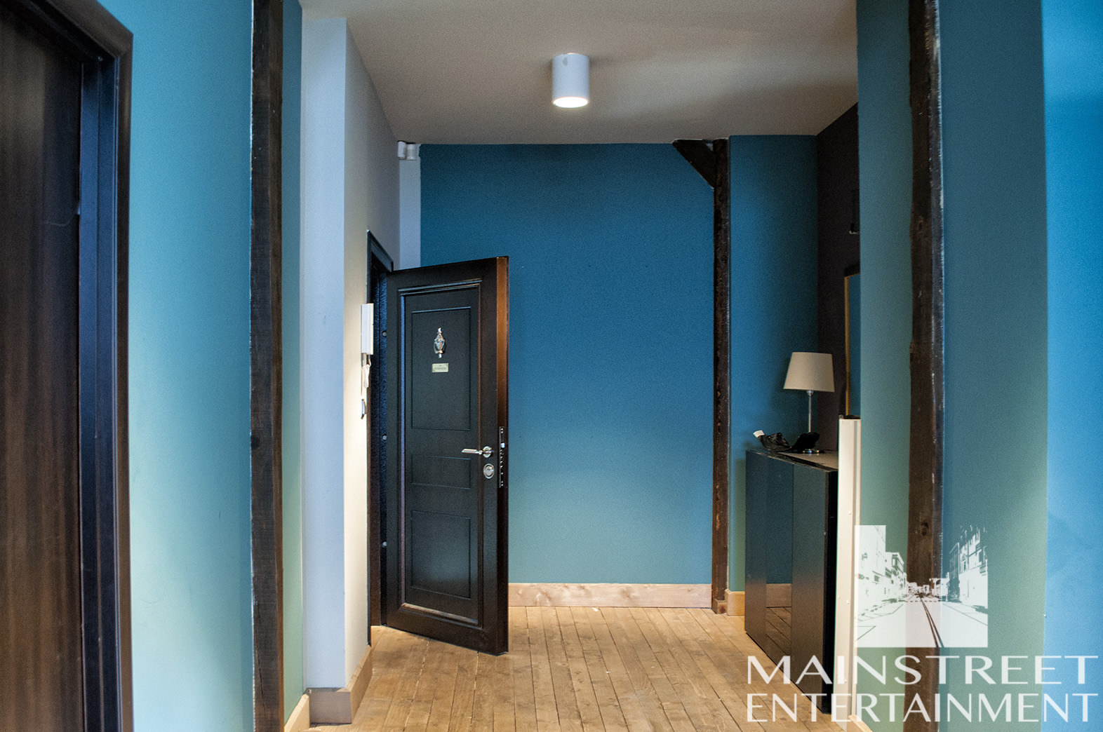 Film set apartment hallway
